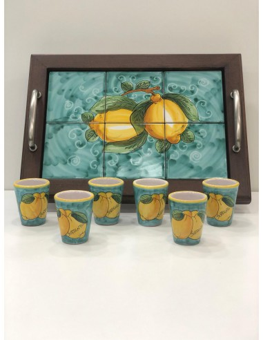 Tray and Limoncello Cups Set Hand...