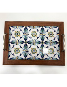Tray with wooden frame...