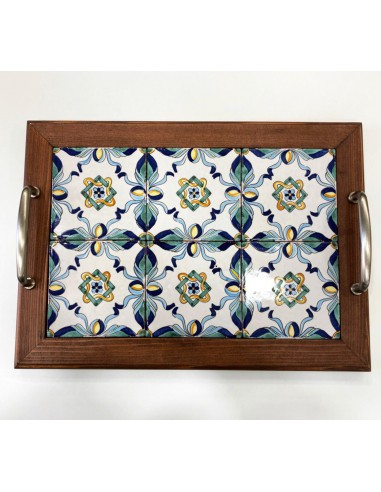 Tray with wooden frame inside hand...